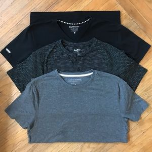 3 Men's Small/Med Tees. Gray, Striped, Black